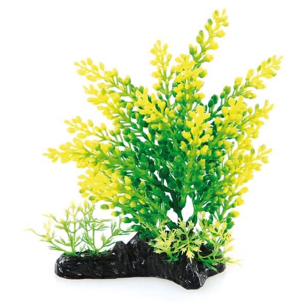 aquarium plastikpflanzen deko gelb gruen