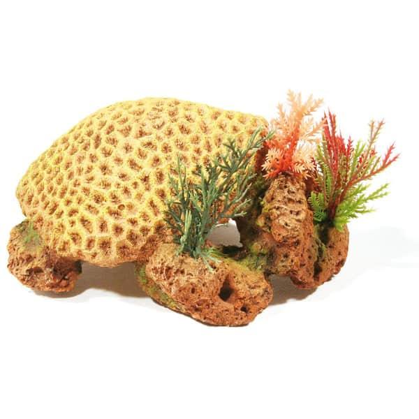 aquariumdekoration korallenriff in gelb