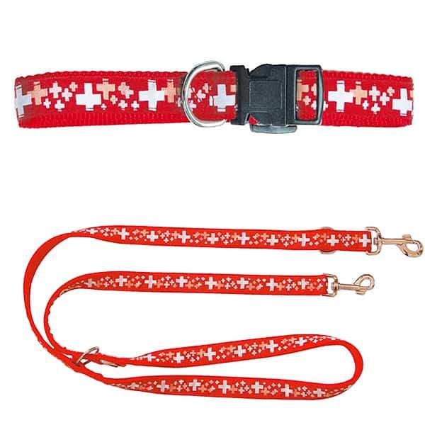 schweizer kreuz hunde halsband und fuehrleine