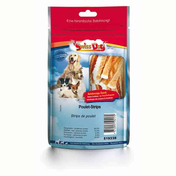 swiss dog poulet strips hundefutter
